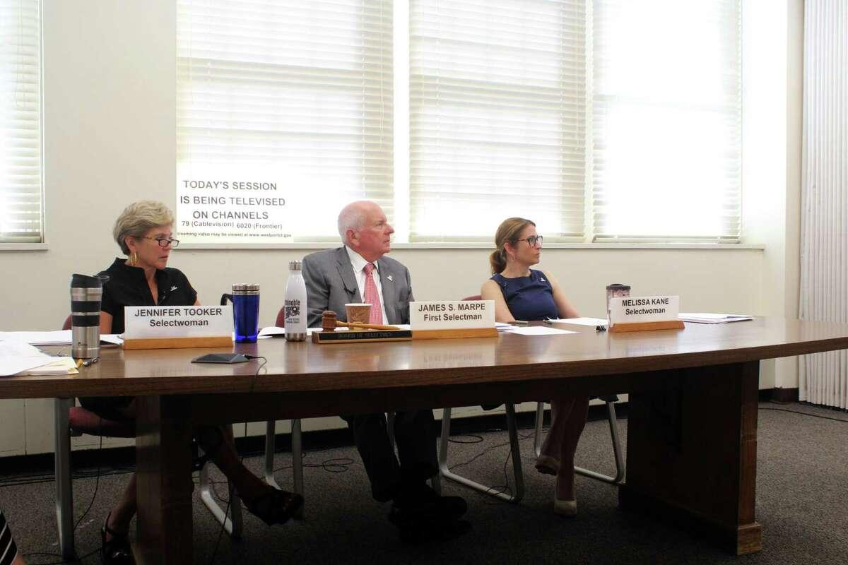 The Board of Selectmen at their meeting on Wednesday. Taken July 24, 2019 in Westport, CT.