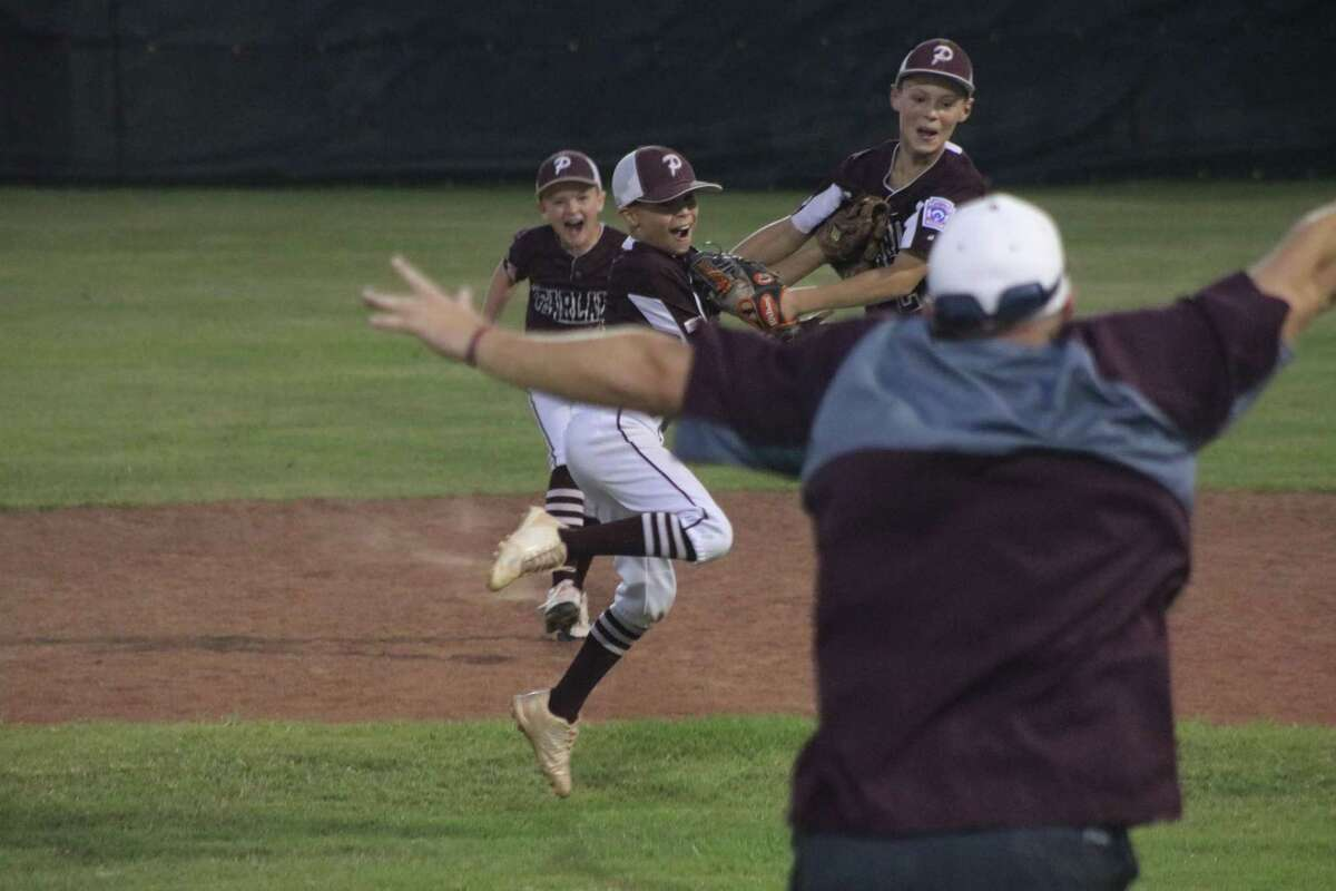 With an elated Manager Jeff Sills running out to greet his players, the Pearland East 10-year-old All-Stars begin celebrating their hard-fought Texas East state championship Tuesday night at Tyler's Faulkner Park.