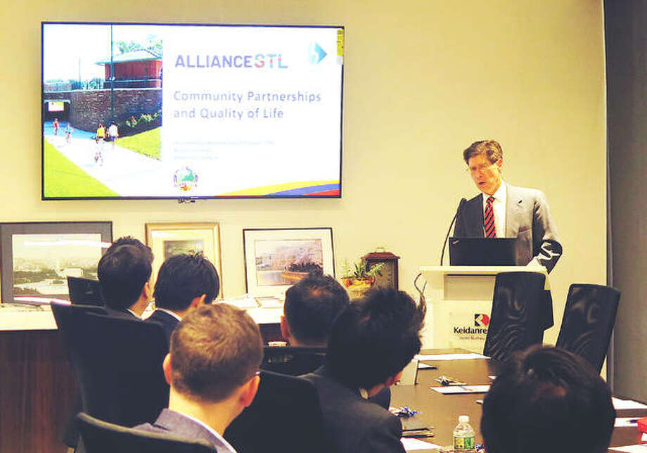 Madison County Board Chairman Kurt Prenzler makes a presentation as part of a delegation speaking to a Japanese business group in Washington, D.C. last month. Photo: File Photo