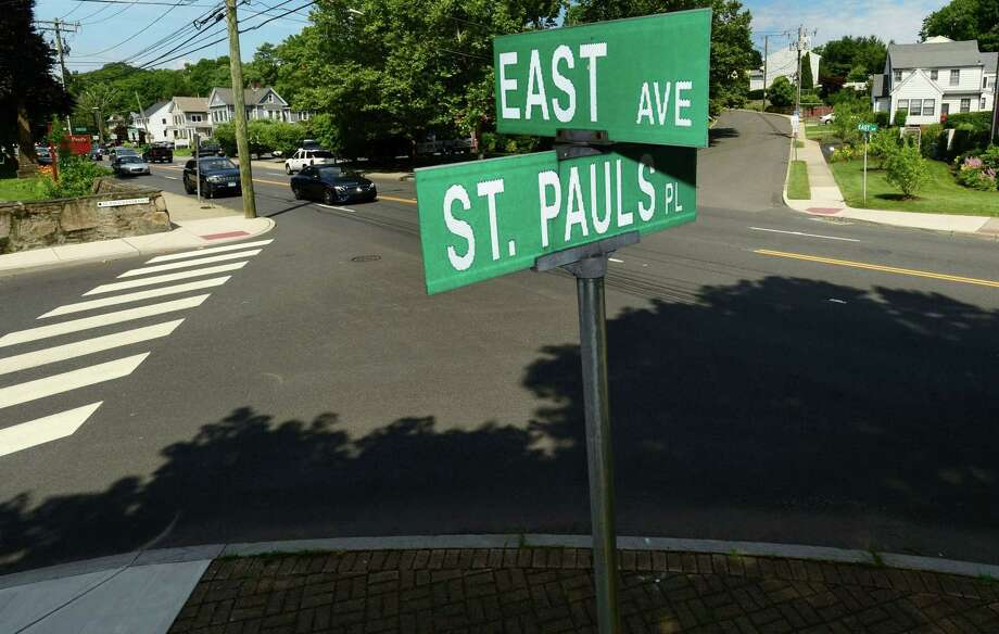 The intersection at East Avenue and St. Paul's Place Wednesday, July 3, 2019, in Norwalk, Conn. St. Paul's on the Green and the Norwalk Green Association are aiming to get a crosswalk across East Avenue at St. Paul's Place and Parkhill Avenue, but traffic could be a concern. Photo: Erik Trautmann / Hearst Connecticut Media / Norwalk Hour