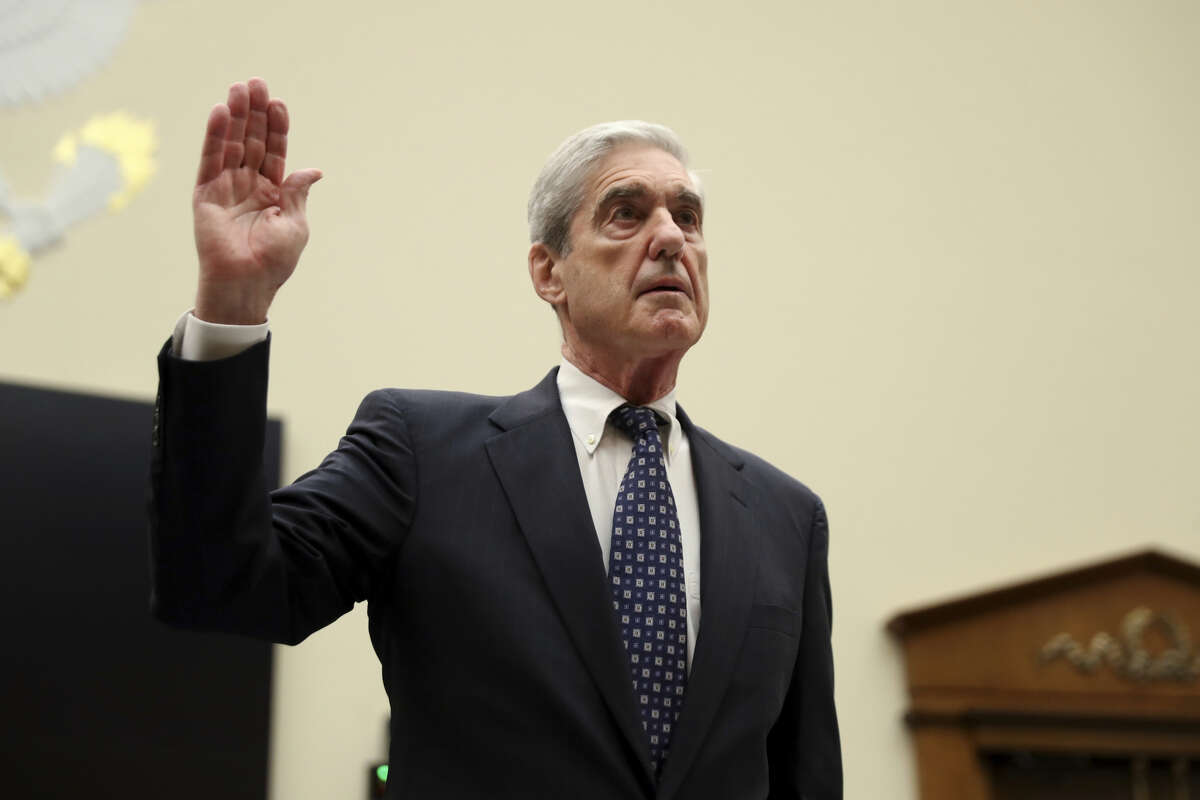 Former special counsel Robert Mueller, is sworn in before he testifies before the House Judiciary Committee hearing on his report on Russian election interference, on Capitol Hill, in Washington, Wednesday, July 24, 2019.