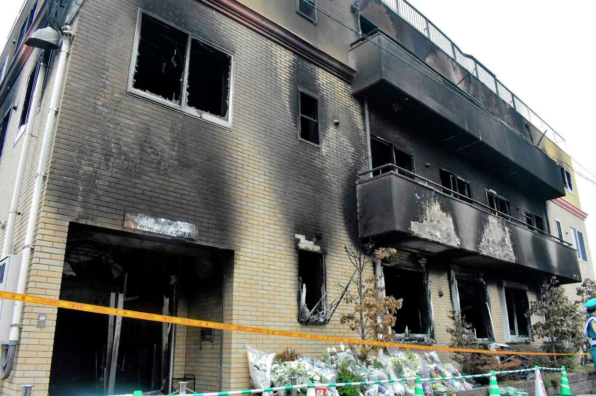 A general overview of the Kyoto Animation studio building hit by a fire on July 18, killing dozens of people, in Kyoto on July 20, 2019. - The horrifying fire at a renowned anime firm which killed dozens in Kyoto is being treated as arson and murder, Japanese police have said, with scores of detectives investigating the deadliest violent crime for decades in the famously safe country. (Photo by JIJI PRESS / JIJI PRESS / AFP) / Japan OUTJIJI PRESS/AFP/Getty Images
