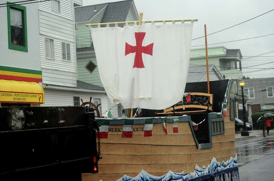 The Council of Italian American Societies' Santa Maria float is empty as it is pulled down Madison Avenue during the 108th Columbus Day Parade in Bridgeport, Conn. on Sunday, October 9, 2016. Photo: Brian A. Pounds / Hearst Connecticut Media / Connecticut Post