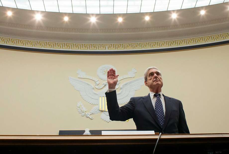 Former special counsel Robert Mueller is sworn in to testify before the House Judiciary Committee hearing on his report on Russian election interference, on Capitol Hill, Wednesday, July 24, 2019 in Washington. (AP Photo/Alex Brandon, Pool) Photo: Alex Brandon, Associated Press