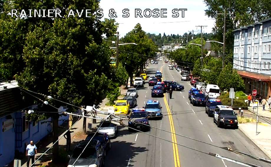 All lanes of northbound and southbound Rainier Avenue South were blocked while police investigated a shooting in the area on July 24, 2019. Photo: Seattle Department Of Transportation