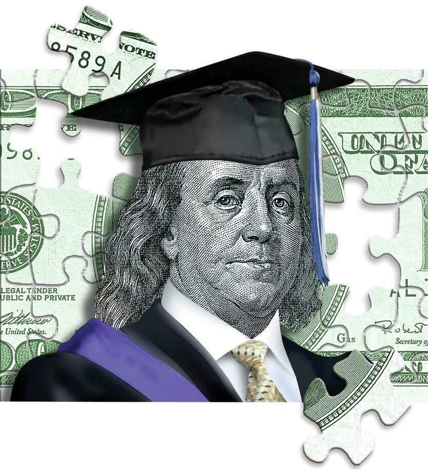 300 dpi 4 col x 8.5 in / 196x216 mm / 667x734 pixels Rick Nease color illustration of Benjamin Franklin in a cap and gown within a puzzle of money. Detroit Free Press 2005 KEYWORDS: college loan money cost benjamin franklin graduate university education educacion graduar graduation graduacion finanzas dinero prestamo graduado puzzle rompecabezas krtbusiness business krteducation education krtnational national krtnamer north america bill bills paying krtpersonalfinance personal finance krtusbusiness u.s. us united states krt illustration de contributed coddington nease grabado ilustracion 2005 krt2005 job career work Photo: Rick Nease / Detroit Free Press