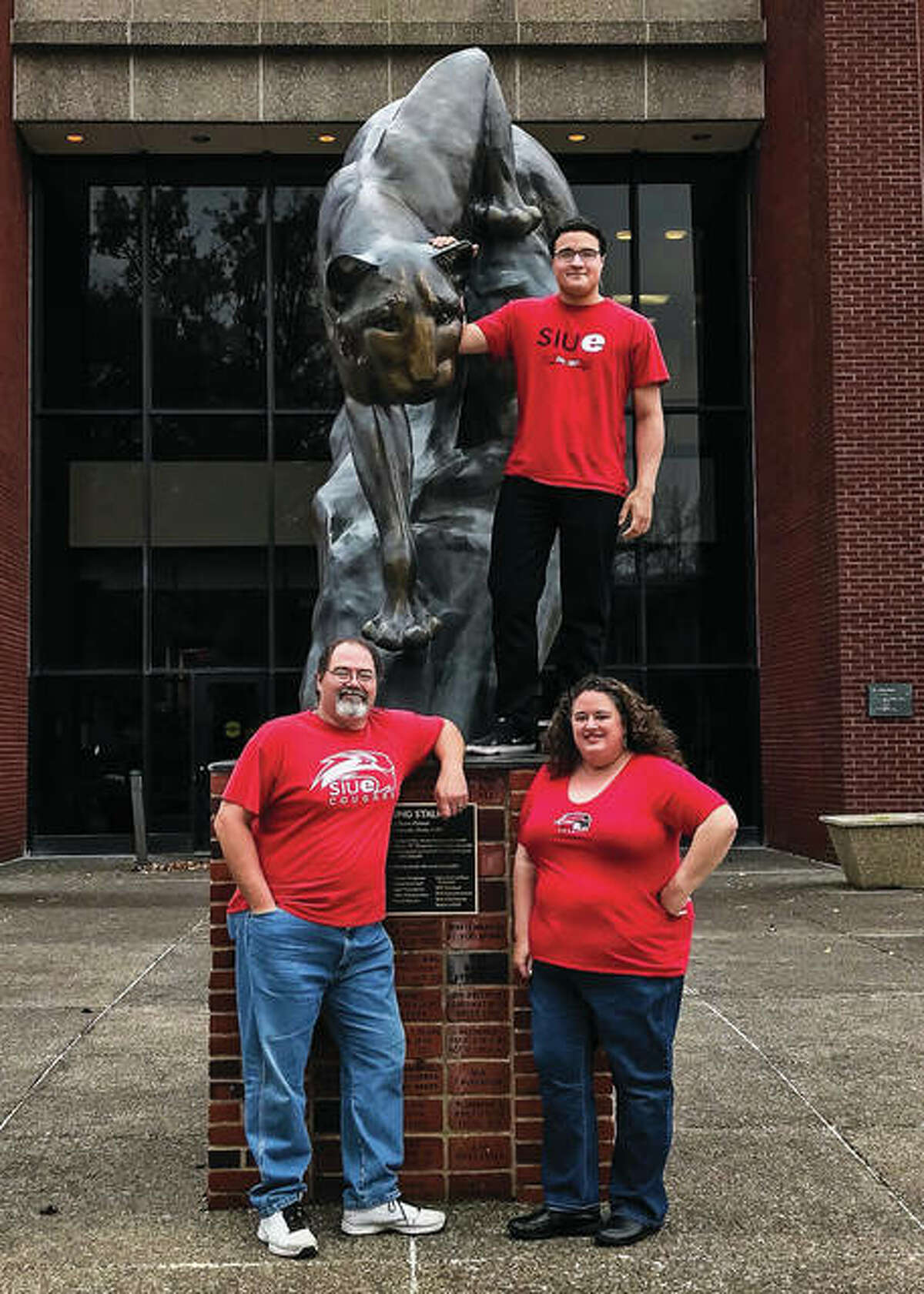 Edwardsville residents and family of three Ian Smith, top, 20, Jim Gillentine, left, 52, and his wife, who's also Ian's mother, Elizabeth Donald, 44, all are students at Southern Illinois University Edwardsville, representing the spectrum of students: traditional college age; nontraditional (Gillentine); and, master's level (Donald). They've attended SIUE at the same time, with the exception of this summer while Ian attends Lewis and Clark Community College to save money and get; Ian will resume studies at SIUE this fall. Gillentine and Donald will graduate from SIUE in May 2020; Ian is still deciding on a major.