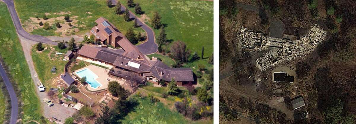The Booster's home before and after the fire.