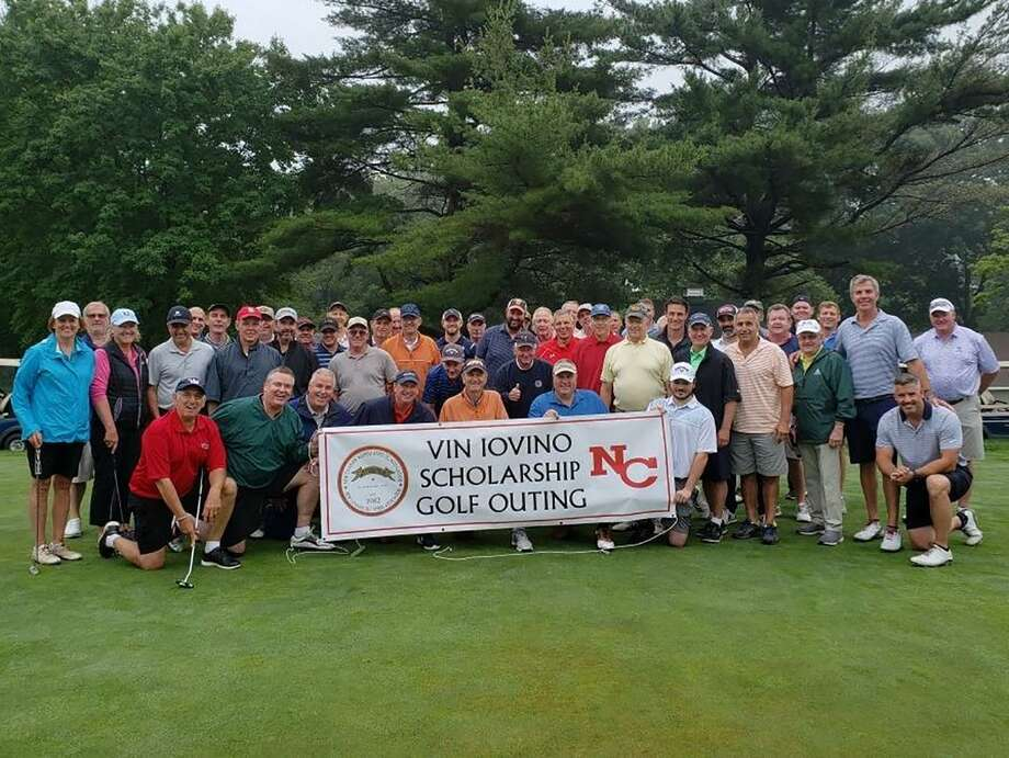 Participants in the annual Vin Iovino Scholarship Golf Outing pose for a picture after the event at Fairchild Wheeler Golf Course on June 25. Photo: Terry Dinan / New Canaan Oldtimers Association / Contributed Photo