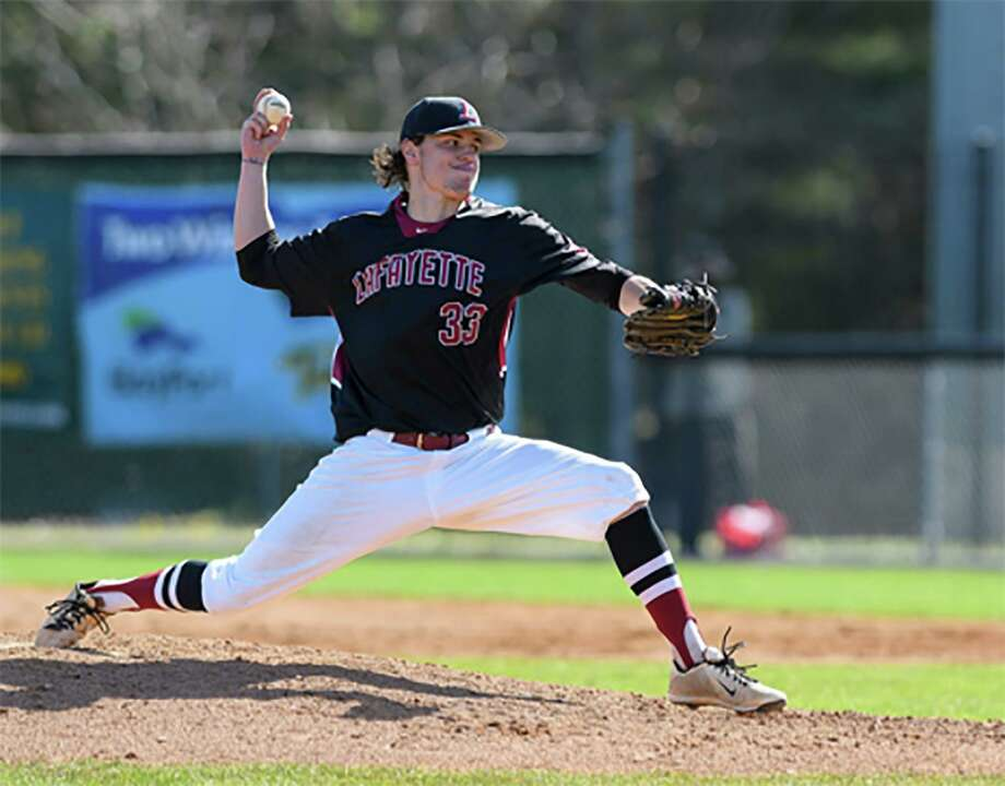 New Canaan's David Giusti pitches for the Lafayette College baseball team during his senior season in the spring of 2019. Giusti was a team captain as a senior and finished his career with a program-record 79 appearances. Photo: Lafayette College Athletics / Contributed Photo / Lafayette College Athletics