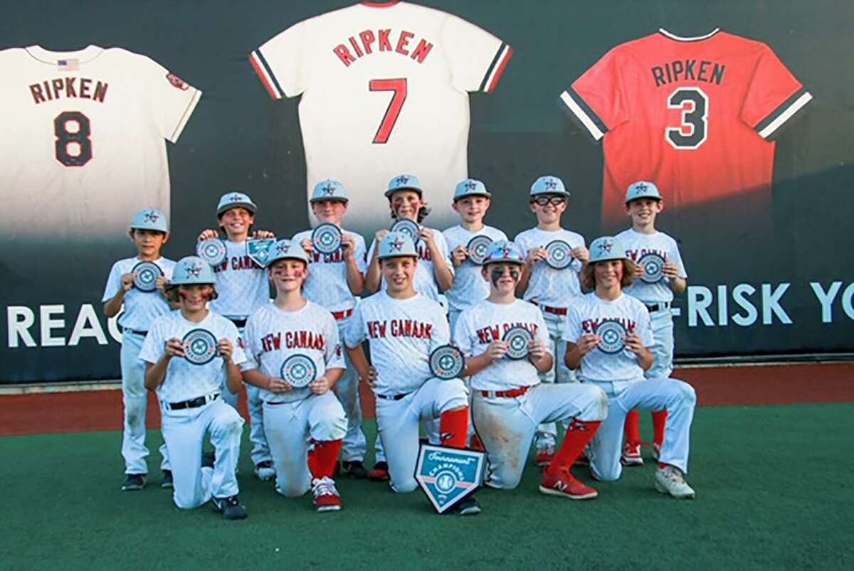 The New Canaan 10-year-old All-Stars pose with trophies after a recent win. The team will play in the 2019 Cal Ripken World Series in Alabama starting on Aug. 1.
