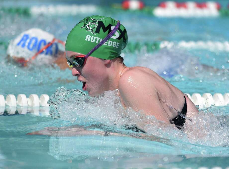 Carly Rutledge of the Middlesex Club swim team competes in the FCSL Div. I championships at Middlesex on August 7, 2018. Photo: Dave Stewart / Hearst Connecticut Media / Hearst Connecticut Media