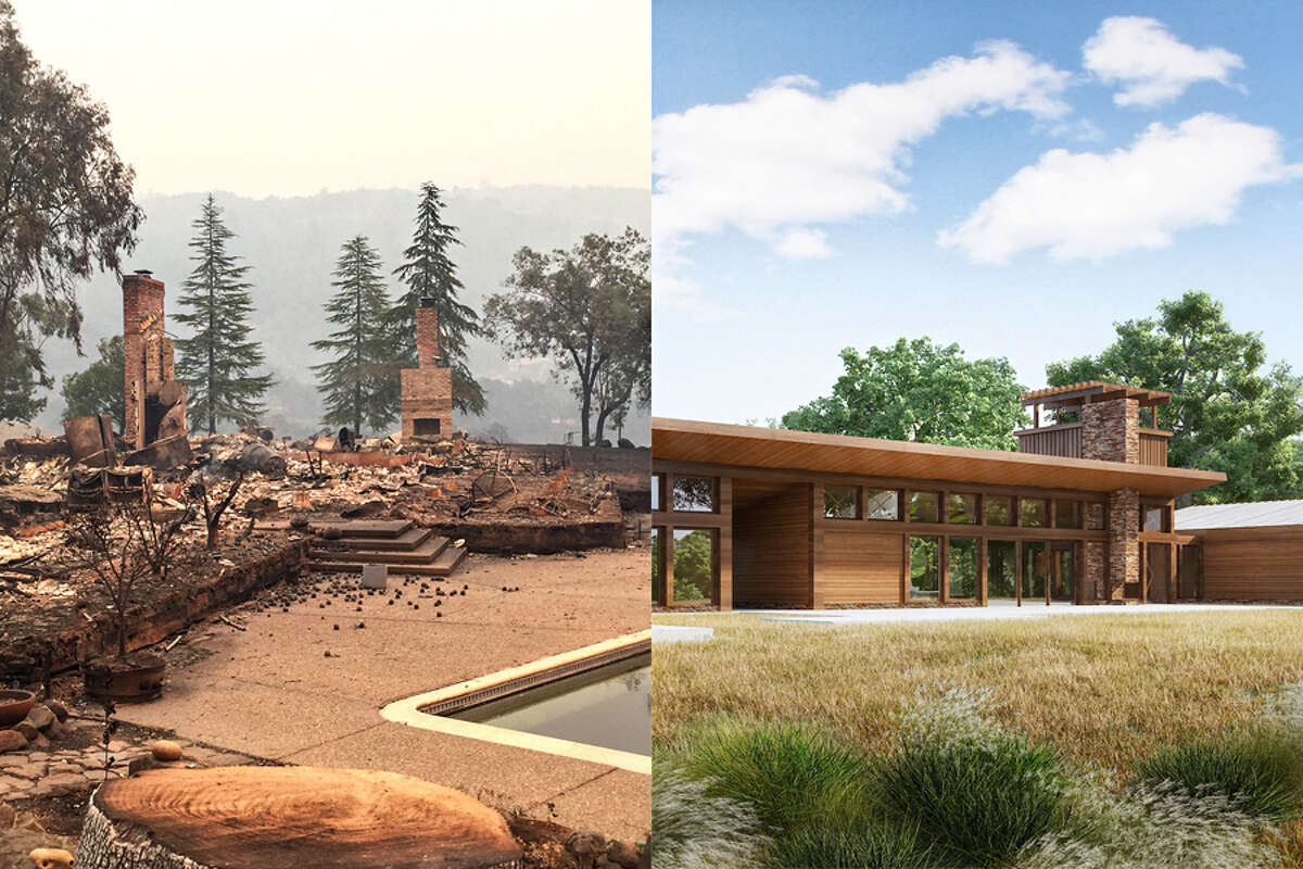 After hot embers from the Santa Rosa fire decimated their home in 2017 (left), Howard and his wife Merritt worked with home building company Bone Structure to rebuild their now fire resistant home (rendering on right).