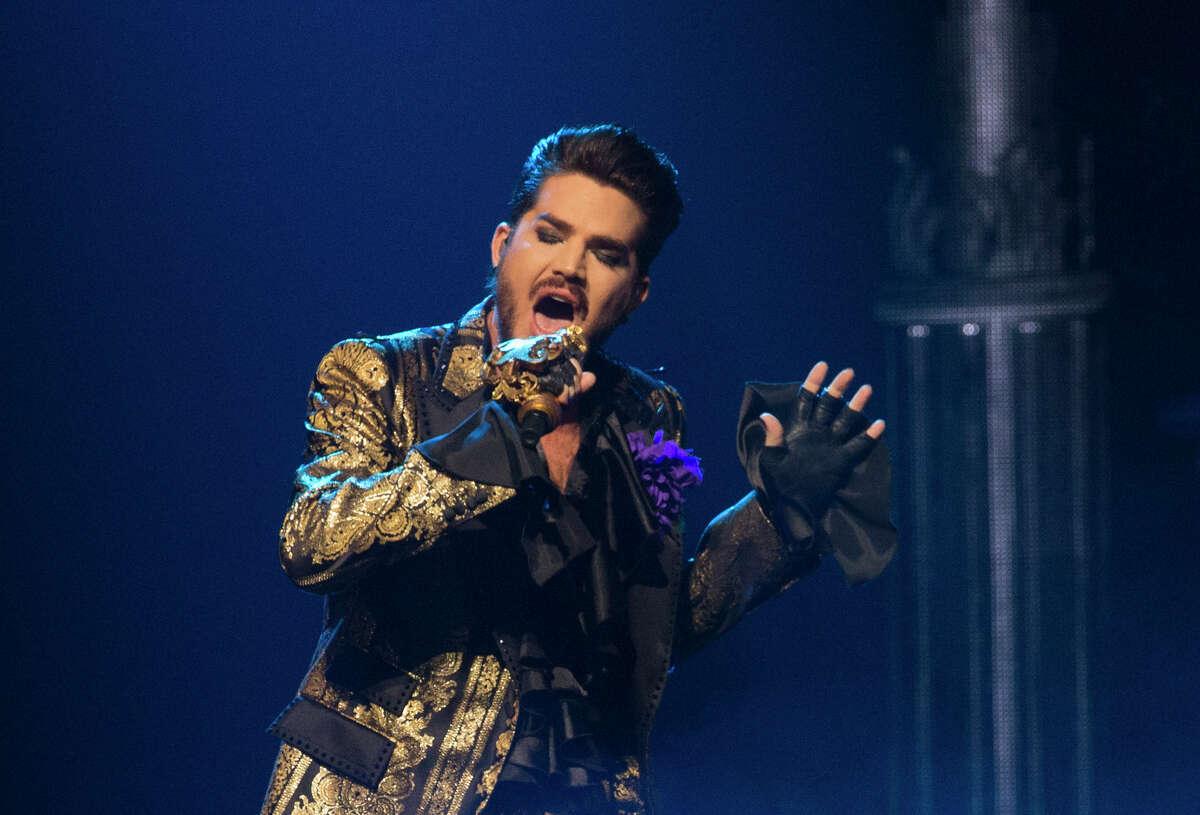 Adam Lambert performs as part of Queen + Adam Lambert at Houston's Toyota Center on July 25, 2019.
