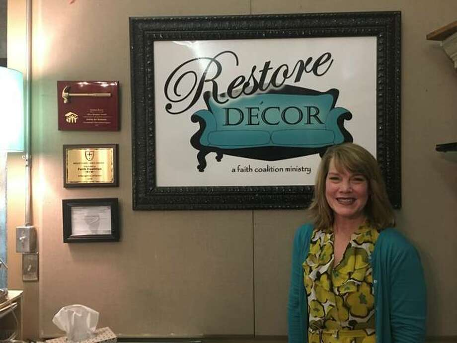 Restore Décor founder and Executive Director Dana Adams stands at the desk of Restore Décor's retail store, at 111 N. Second St., in Edwardsville. Adams founded the 100% volunteer-operated nonprofit outreach organization in 2013. She lives in Edwardsville with her husband and daughter, Emilee, 18, who will attend the University of Southern Indiana this fall, majoring in biology and pre-dentistry; their son, Justin, 24, is an engineer in Dallas, Texas. Photo: Jill Moon|The Edge