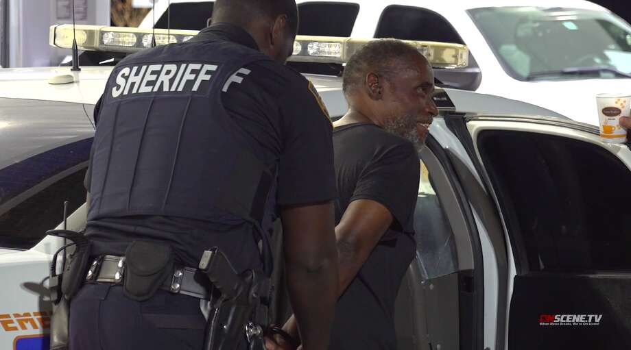 Harris County Sheriff's Office deputies arrest a man who allegedly stole an ambulance and drove to a Houston-area KFC early Thursday, July 25. Photo: OnScene TV