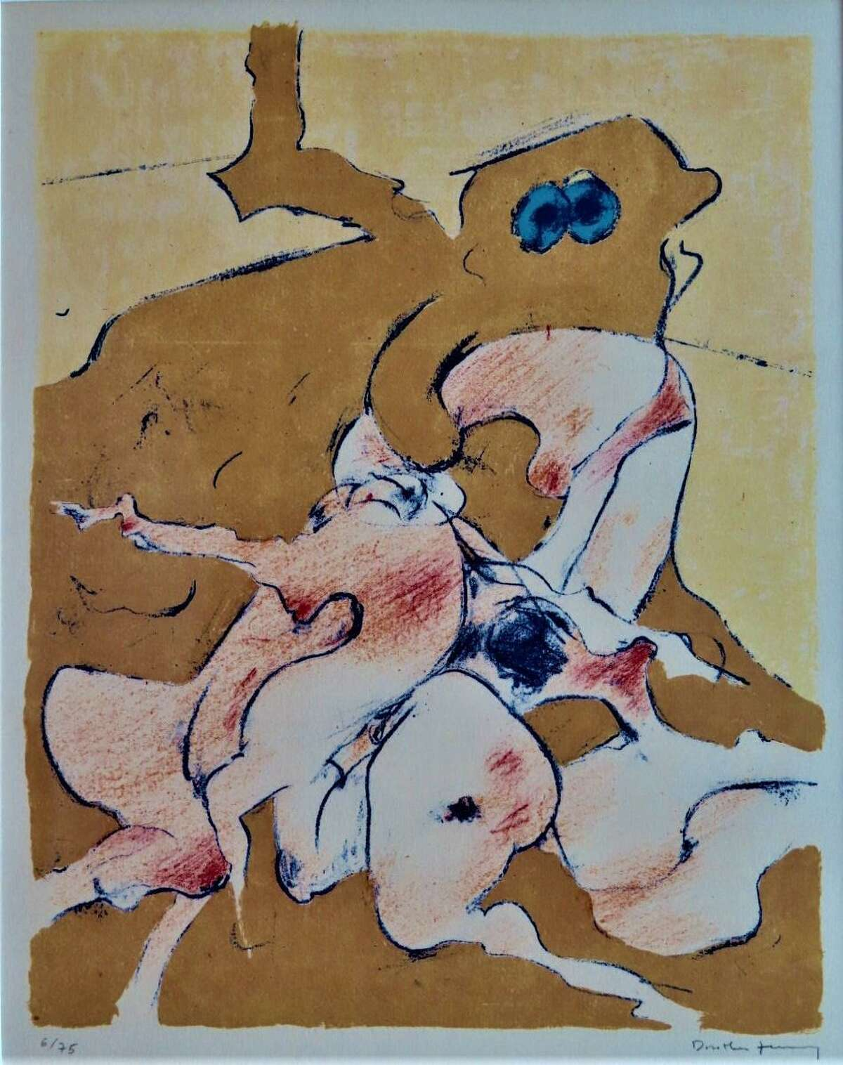"""""""Composition,"""" a 1973 etching byDorotheaTanning, is on view in """"Women Surrealists"""" at Redbud Gallery through Aug. 27."""