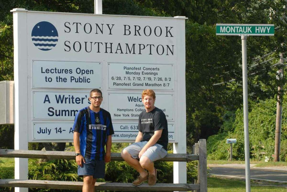 Stony Brook Southhampton students Nick Zanussi and Liam Keating are helping to mothball most buildings on the seaside Long Island campus. ( Michael P. Farrell / Times Union )