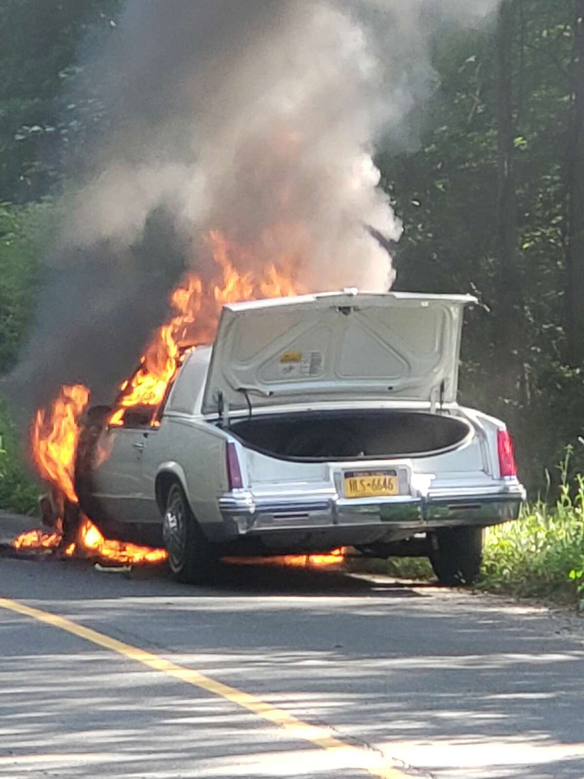 Just before 5 p.m. on Wednesday, July 24, 2019, a car became engulfed in flames on Pine Hill Road in New Fairfield. The New Fairfield Volunteer Fire Department and police responded and found the vehicle in flames.