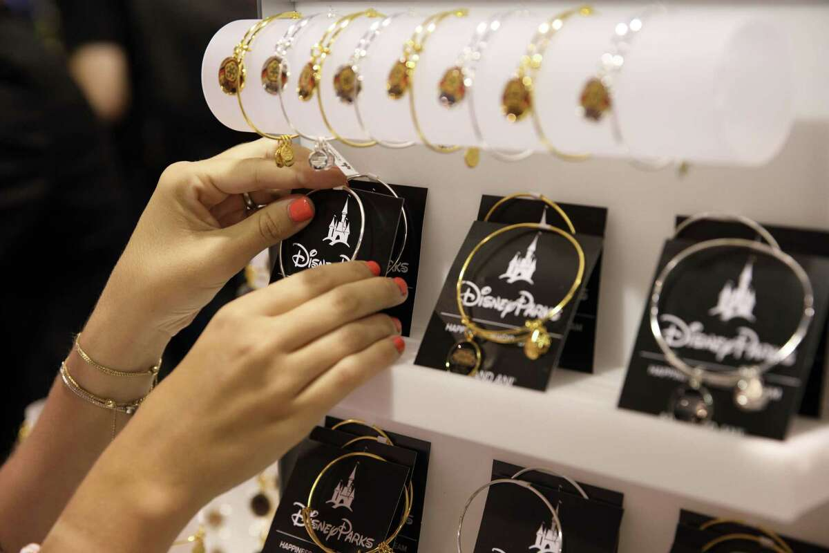 Alex and Ani bracelets are displayed for sale at the D23 Expo 2017 in Anaheim, Calif., on July 15, 2017.