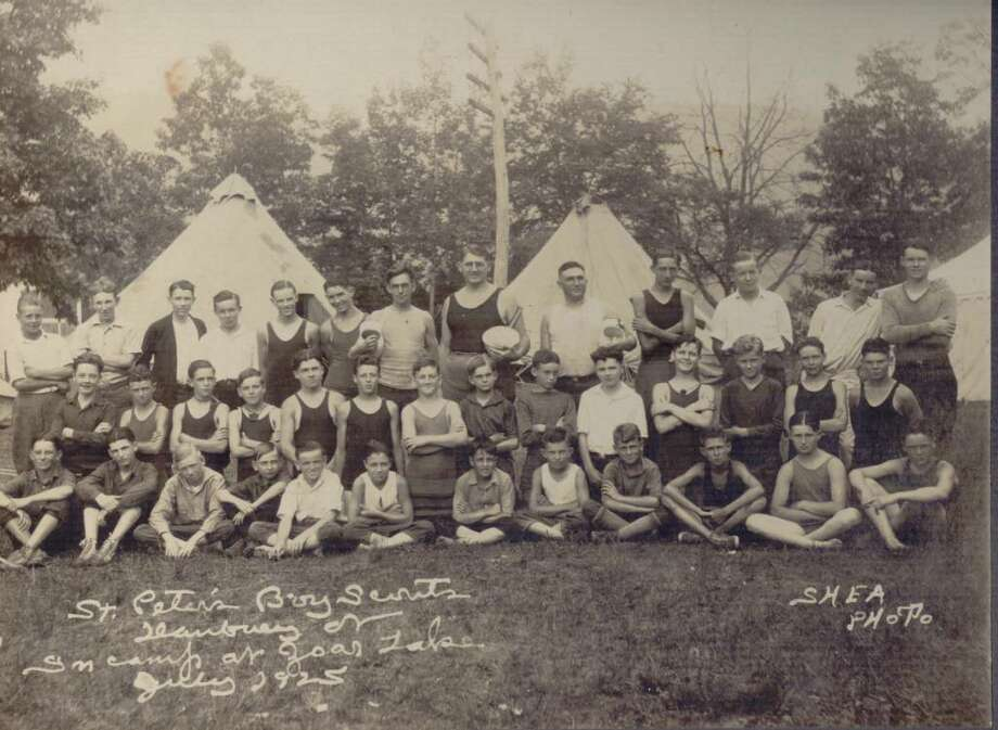 St. Peter Boy Scouts of Danbury are seen here in camp at Zoar Lake in 1925. Photo: Contributed Photo / The News-Times Contributed