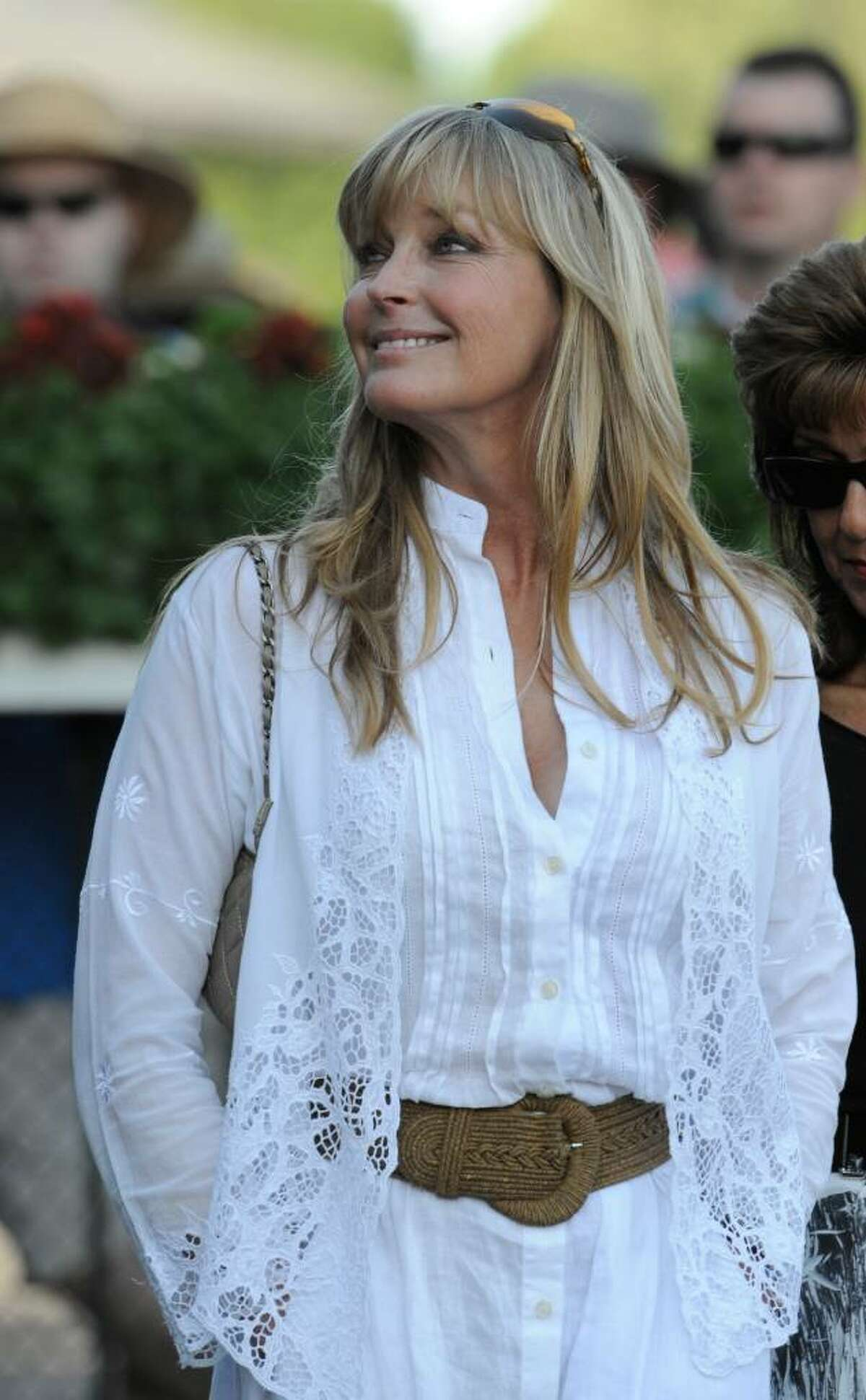 Actress Bo Derek makes a visit to the winner's circle at the Saratoga Race Course. (Skip Dickstein / Times Union)