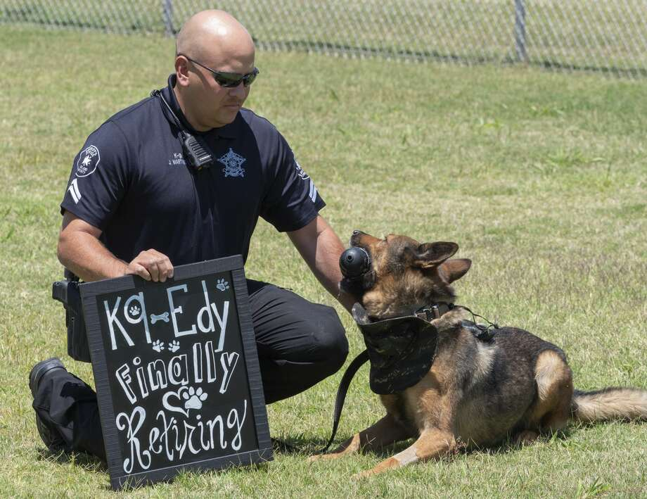 Midland Sheriff Cpl. Jorge Martinez with his K-9 partner Edy. After serving in the K-9 department for six years, Edy will retire 07/25/19 to become a family member with the Martinez family. Tim Fischer/Reporter-Telegram Photo: Tim Fischer/Midland Reporter-Telegram