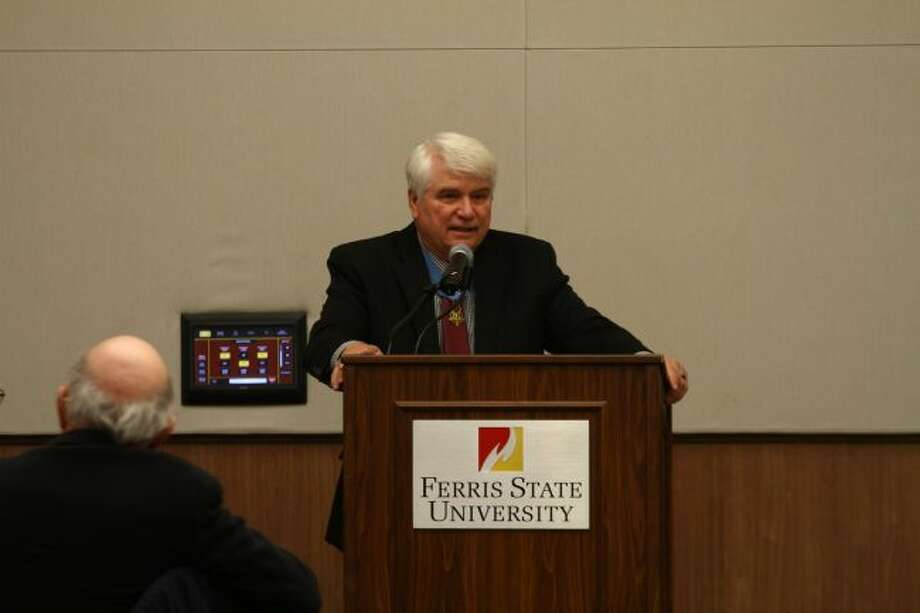 Congressional Medal of Honor recipient Jim McCloughan, of South Haven, speaks Friday during at Ferris State University for the annual Veterans Day breakfast. McCloughan spoke about his service during the Vietnam War. (Pioneer photo/Emily Grove)