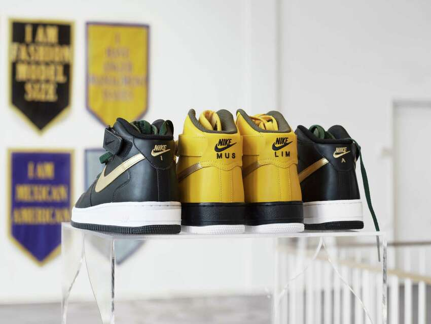 Baseera Khan, Nike ID #2, 2018, Customized Nike Air Force One mid-tops, size 8.5 women's BK18-17. (Photo: Gil Gentile; Courtesy of the artist and Simone Subal Gallery, New York)