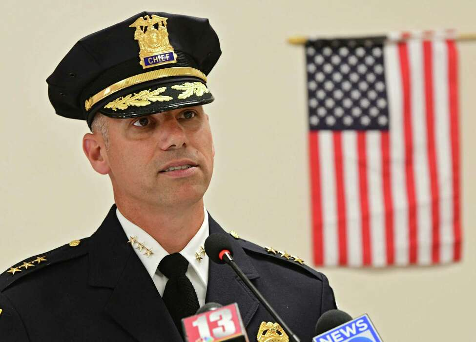 New Watervliet Police Chief Anthony Geraci speaks after being sworn in to the department at the Watervliet Senior Center on Thursday, July 25, 2019 in Watervliet, N.Y. (Lori Van Buren/Times Union)