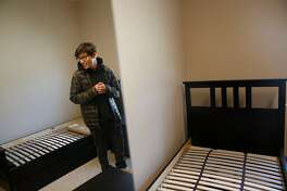 Abisai Aguilar, 15, reacts as he looks over the dorm room that he will be moving into at Life Learning Academy on Monday, July 22, 2019 on Treasure Island in San Francisco, Calif.