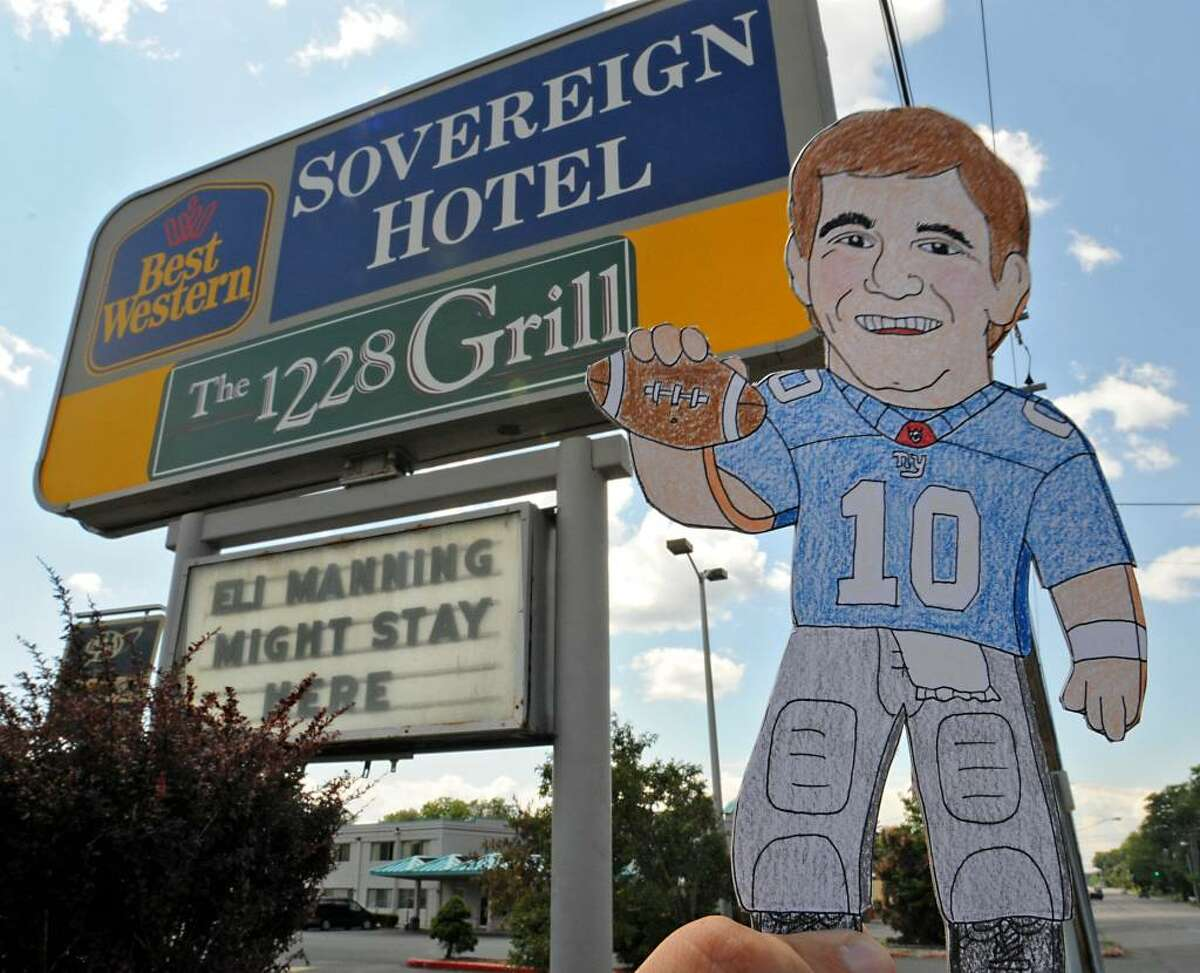 Flat Eli in front of the Best Western on Western Ave. in Albany. (Lori Van Buren / Times Union)