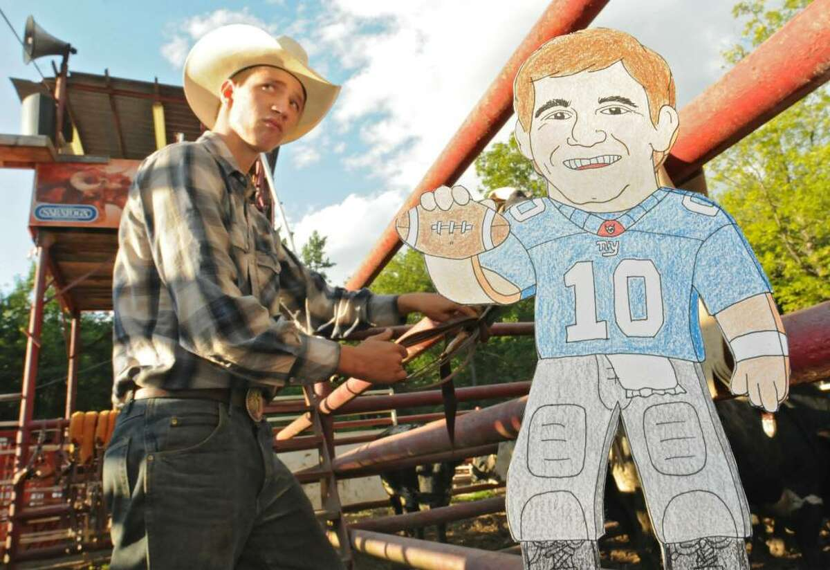 Eli Manning might scout the Cowboys, including Zack Martin of Mayfield, by going to the Double M rodeo. He?ll need an edge if the Giants are going to compete in a tough NFC East. (Lori Van Buren / Times Union)