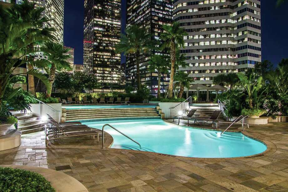 The stunning pool area with views at One Park Place.