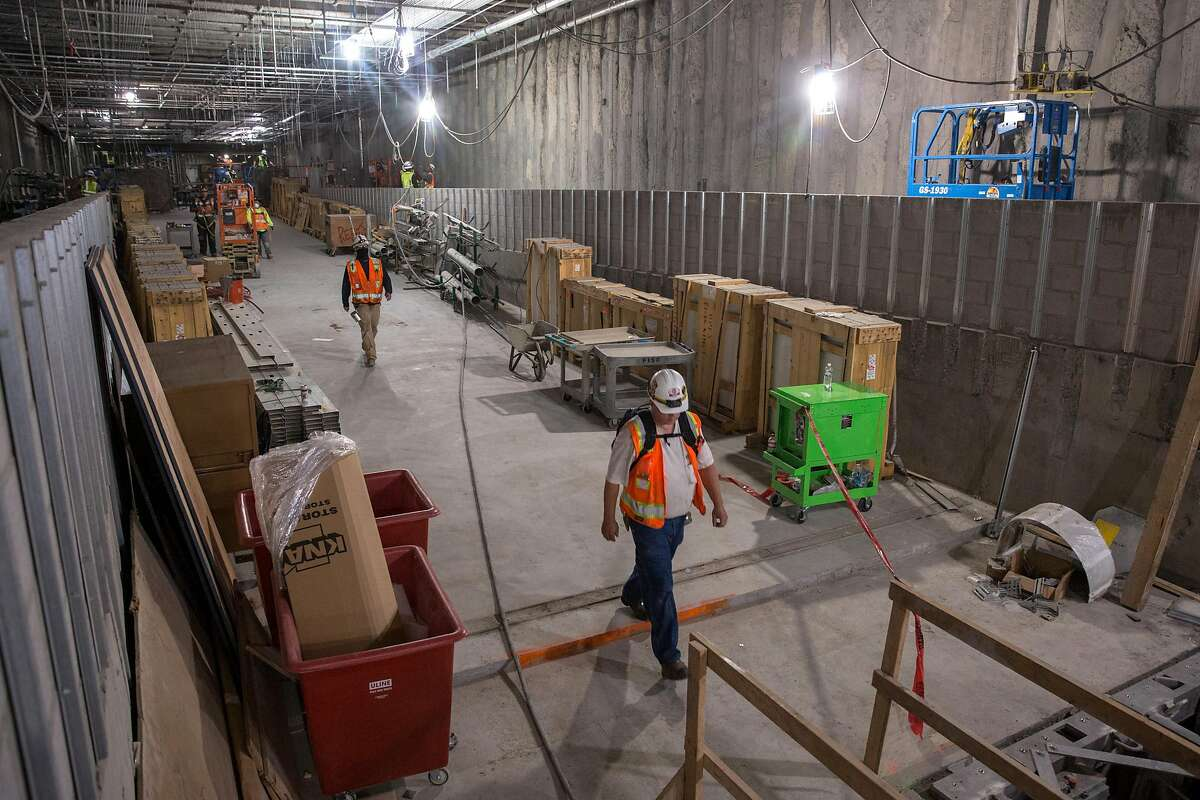 Construction site of the Union Square/Market St. Central Subway Station. According to officials it will still take months of contraction work before the station officially opens. Thursday, July 25, 2019. San Francisco, Calif.