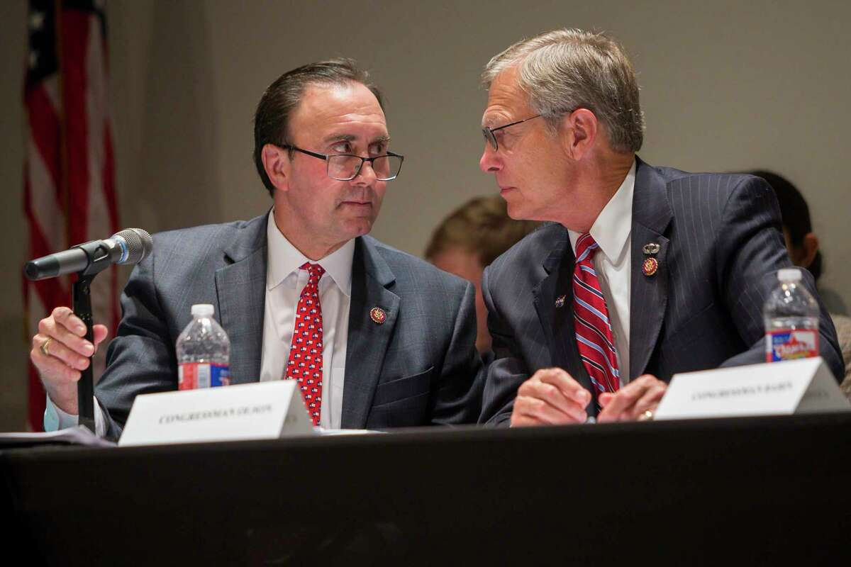Left to right, U.S. Reps. Pete Olson, R-Sugar Land, and Brian Babin, R-Woodville, at a House environment subcommittee field hearing at Houston Community College in Houston, Monday, July 22, 2019.