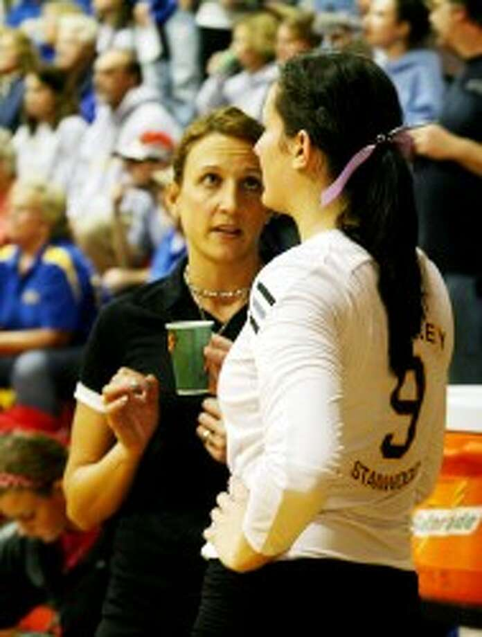 ALL STAR: Morley Stanwood volleyball coach Robin Kozuch (left) will coach in the all-star game Friday in Battle Creek. (Pioneer file photo)