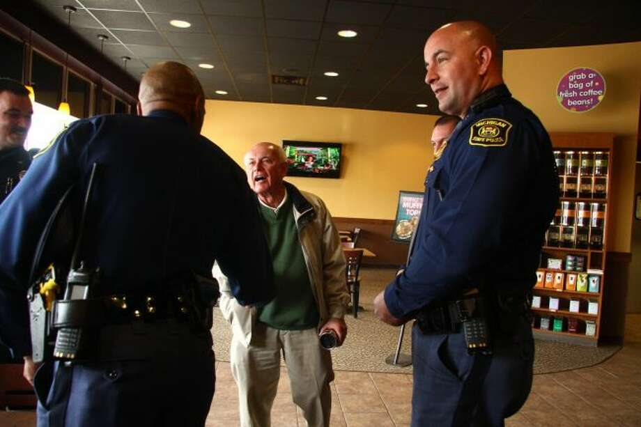 Area residents will have a chance to meet with members of the Michigan State Police and local law enforcement agencies next week during Coffee with a Cop on Thursday, Oct. 3. (Pioneer file photo)