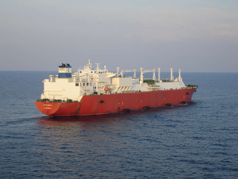 Excelerate Energy's liquefied natural gas tanker Excalibur. The Woodlands liquefied natural gas company has landed an LNG cargo deal with Argentina's YPF — the world's newest exporter of the supercooled fuel. Photo: Excelerate Energy