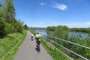 The Erie Canalway Trail runs along the Mohawk River through much of Rotterdam. (Herb Terns / Times Union)