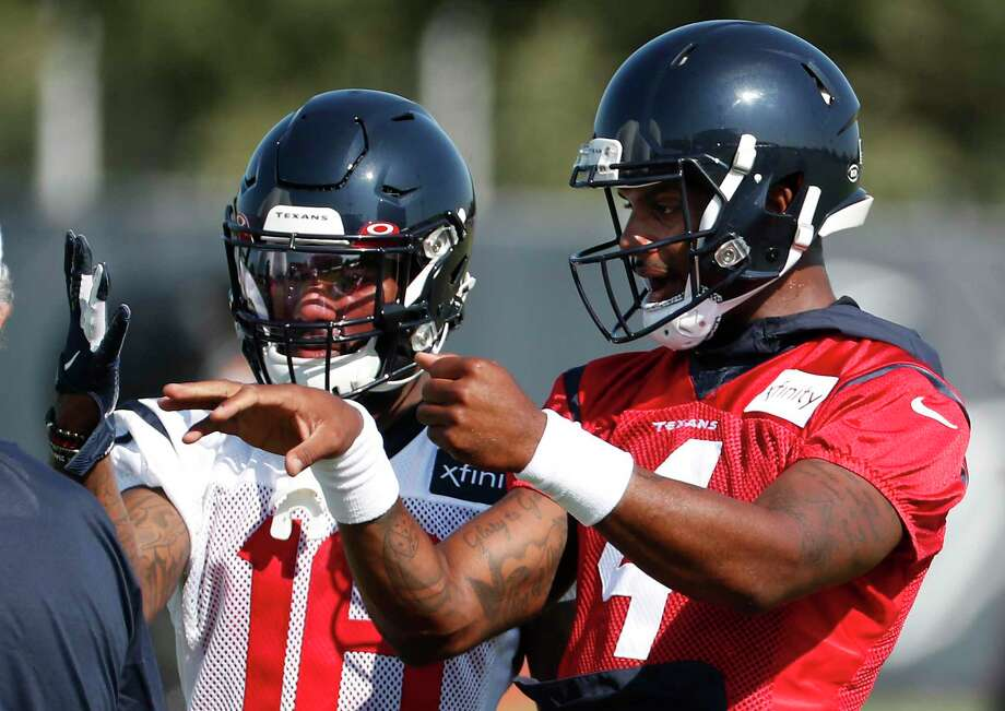 PHOTOS: Texans vs. Ravens Houston Texans wide receiver Keke Coutee (16) works with quarterback Deshaun Watson (4) during training camp at the Methodist Training Center on Thursday, July 25, 2019, in Houston. >>>Look back at photos from the Texans' game against Baltimore on Sunday ... Photo: Brett Coomer, Houston Chronicle / Staff Photographer / © 2019 Houston Chronicle