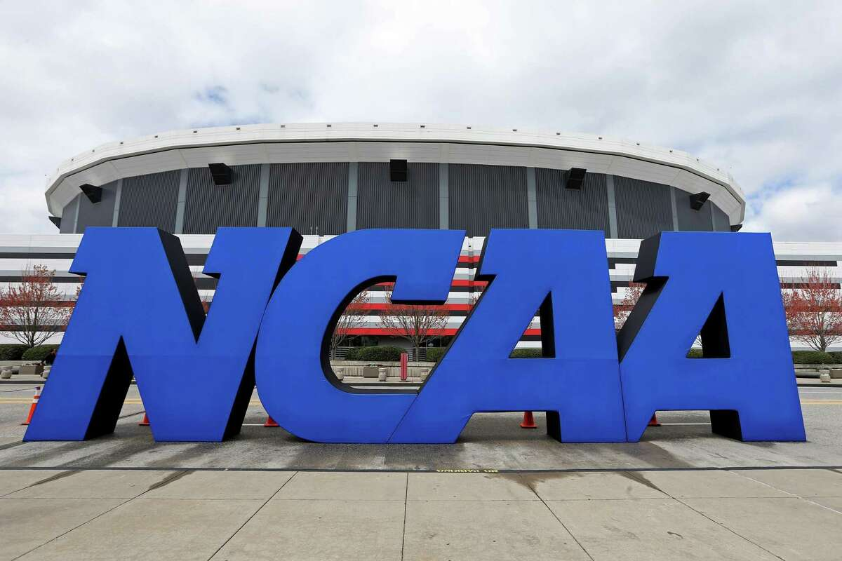 The NCAA logo is seen outside the Georgia Dome before the men's Final Four in April 2013.