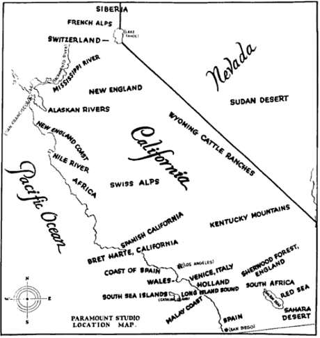 Paramount Studios distributed this map in 1927 with its suggested filming locations around California. Photo: Public Domain