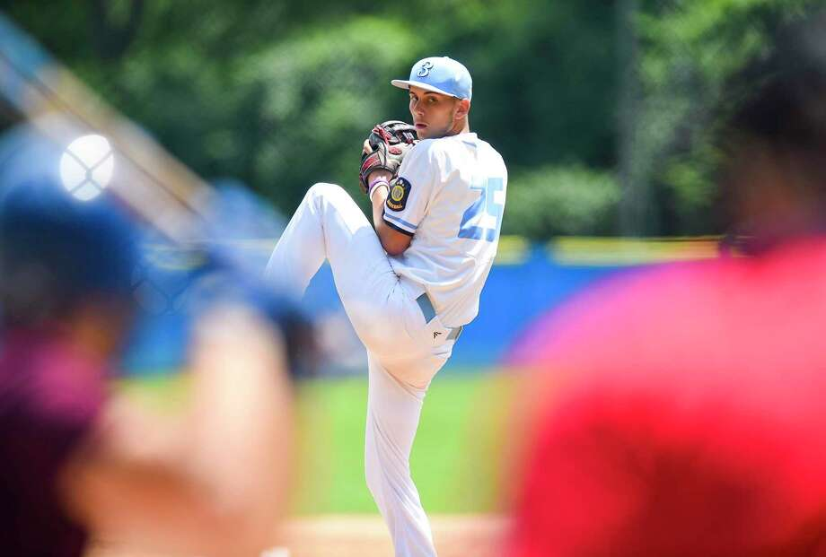 Stamford Jay Lockwood throws in the first inning against North Haven in game 1 of a two game elimination round in the CT American Legion Baseball Regional finals at Cubeta Stadium in Stamford, Conn. on July 25, 2019. Stamford lost the first game 7-1, and defeated North Haven 3-1 in game two, advancing to Southern Super Regional beginning Saturday in Meriden. Photo: Matthew Brown / Hearst Connecticut Media / Stamford Advocate