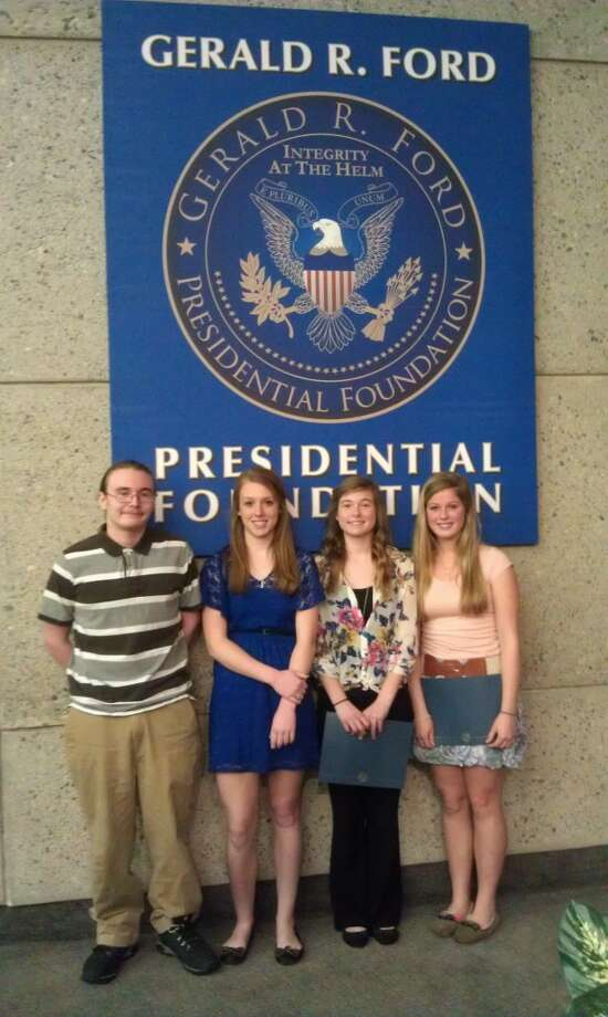 FINALISTS: Pictured from left to right are Chippewa Hills High School students Todd Grove, Callee Stirn, Alyssa Wauldron and Kilie Smith, who all were named top 25 finalists for the President Gerald R. Ford Essay Challenge. More than 500 West Michigan high school students submitted entries. (Courtesy photo)