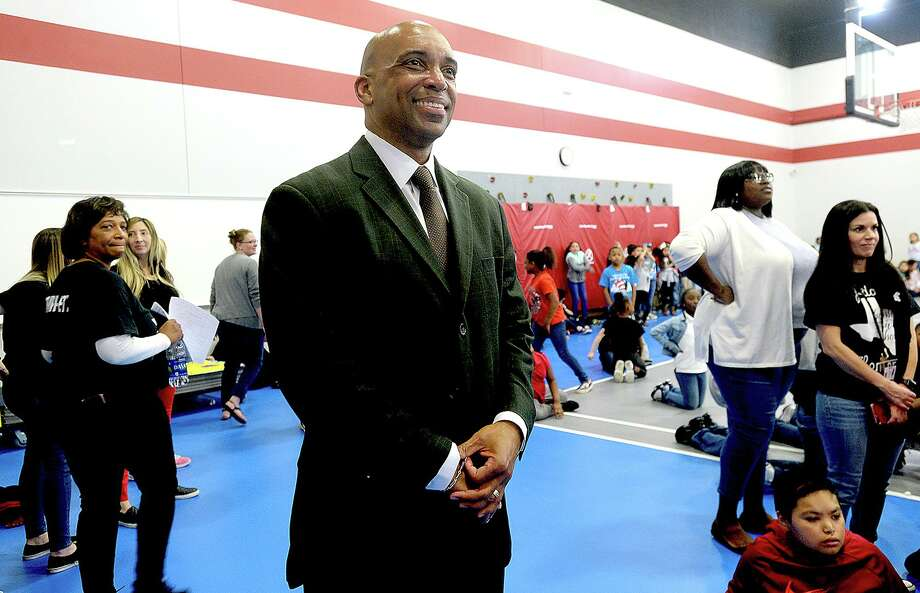 Port Arthur ISD Superintendent Dr. Mark Porterie takes in a Step performance during a Friday pep rally at Staff Sgt. Lucian Adams Elementary School. Dr. Porterie is raising concerns about Motiva not paying their share in taxes, which ultimately negatively impacts the funding for schools and students in the district. Photo taken Friday, April 5, 2019 Kim Brent/The Enterprise Photo: Kim Brent / The Enterprise / BEN