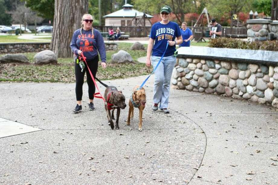 Community members and their pets started the 5K fun run/walk at Hemlock Park, where they later ended. Funds raised during the event benefit the Animal Rescue Coalition of Mecosta County. (Pioneer photo/Meghan Haas)