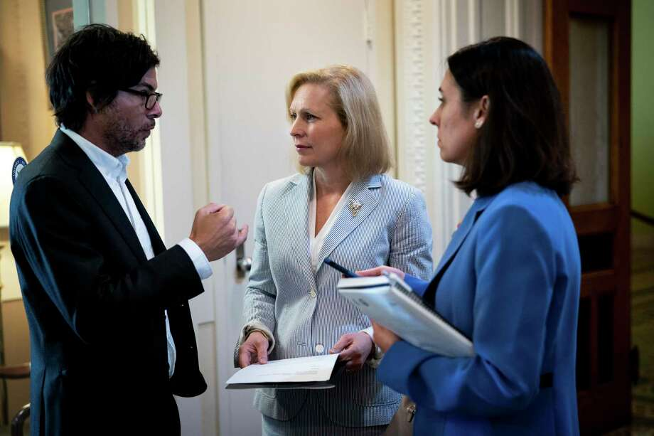 Sen. Kirsten Gillibrand (D-N.Y.) on Capitol Hill in Washington, July 17, 2019. Al Franken is back in the news more than 18 months after he resigned from the Senate following a half-dozen allegations of sexual misconduct. And that means that Gillibrand, his onetime friend who was the first Democratic colleague to call for him to step down, is back in the news, too. (Erin Schaff/The New York Times) Photo: ERIN SCHAFF, STF / NYT / NYTNS