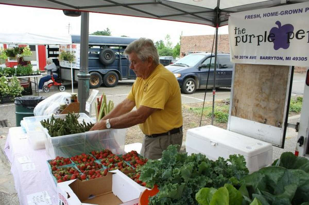 Dan LaTendresse rearranges and restocks a tub filled with asparagus and rhubarb early in the 2018 Big Rapids Downtown Farmers Market season. The last date to pick up fresh produce for this season is Friday, Oct. 26. (Pioneer file photo)