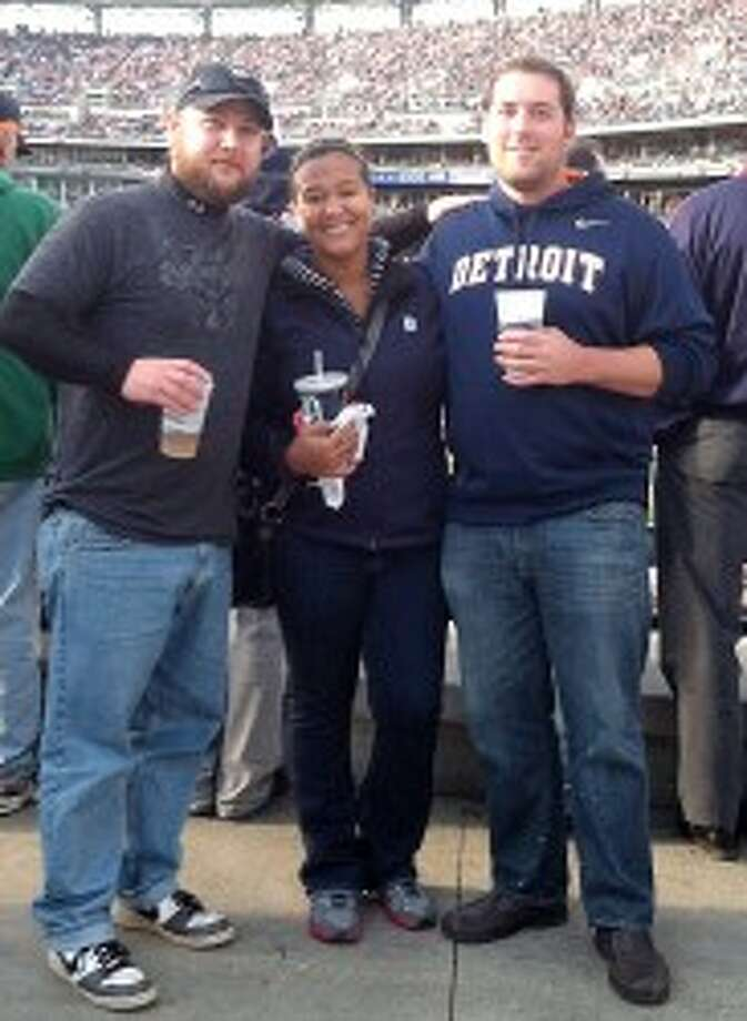 HOME GAME: Nick Bull, Allie Pugh and Dale Tuskegee attended Game 4 of the American League Championship Series on Oct. 18. The Tigers beat the New York Yankees, 8-1. (Courtesy photos)